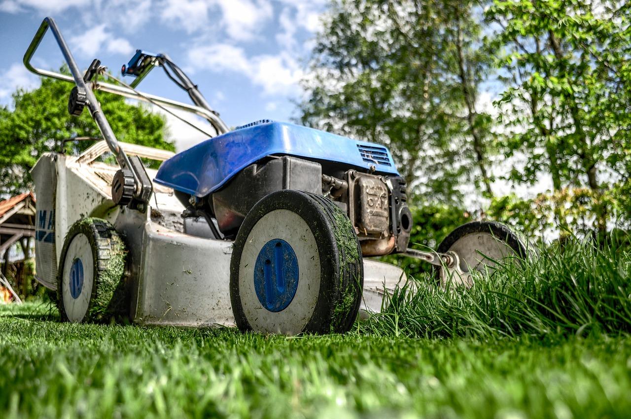 Gräsklippare klipper gräsmatta